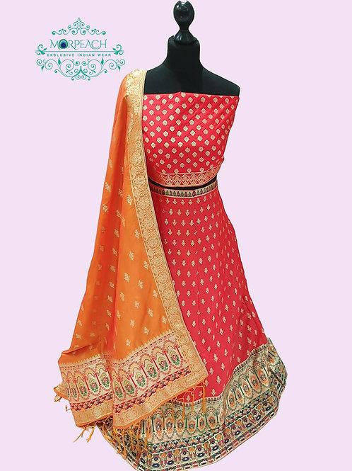 Red Semi Stitched Silk Lehenga (4XL)
