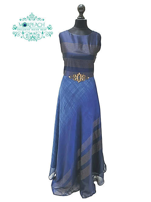 Blue and Gold Floor Length Kurti (M)