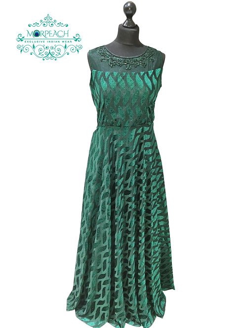 Emerald Green Partywear Ultra Thin Velvet Gown (XL)
