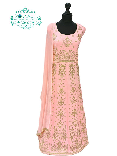 Baby Pink Gold Embroidered Dress (3XL)