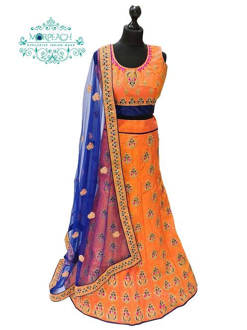 Orange & Blue Embroidered Silk Lehenga (Reg)