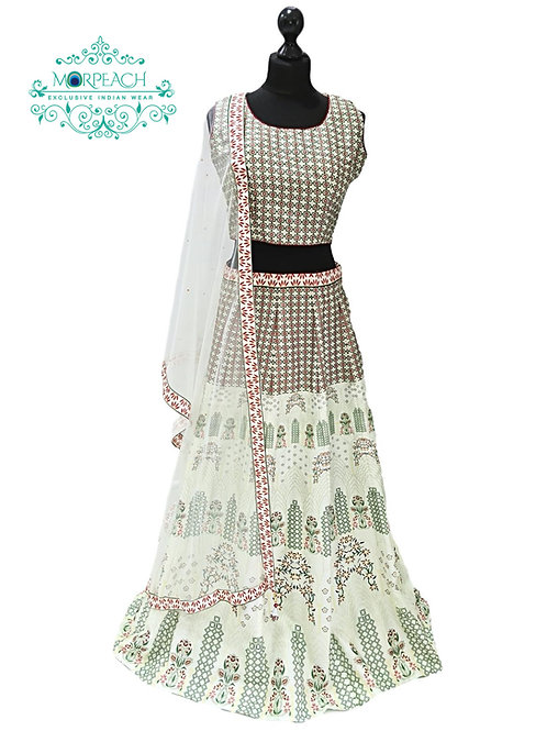 Light Green Printed Silk Lehenga (XL)