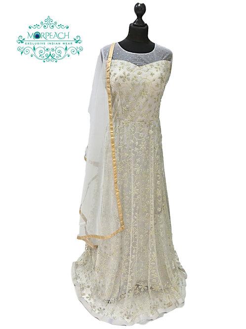 Shimmery Beaded Light Grey Net Gown (2XL)