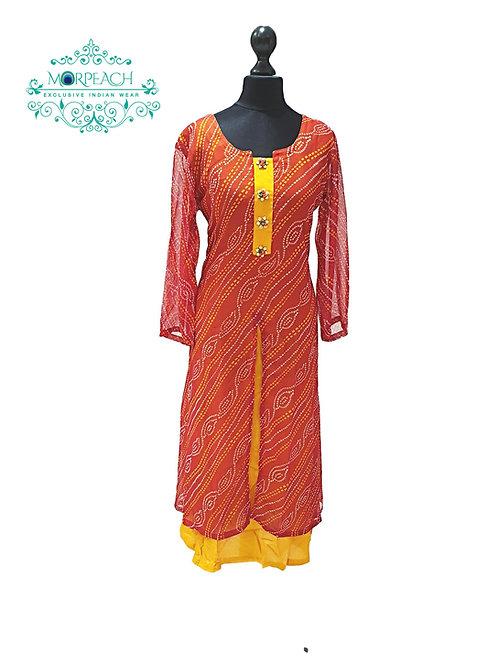 Bandhni Print Chiffon Kurti (XL)