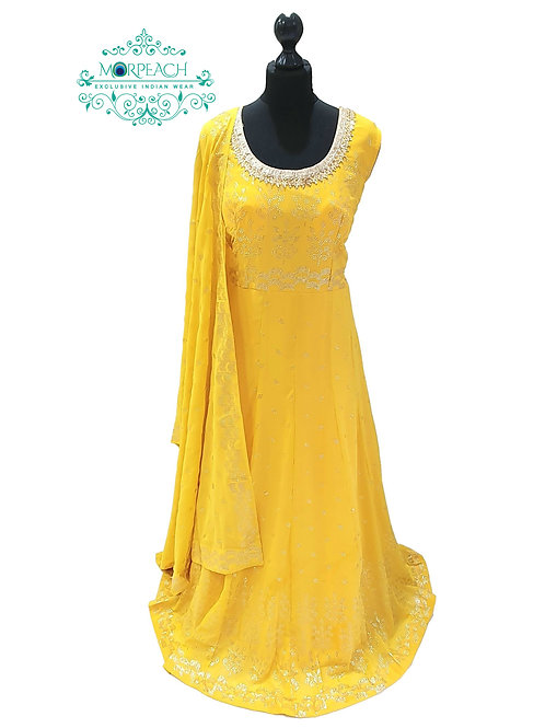 Yellow Gold Embossed Sequence Dress (5XL)