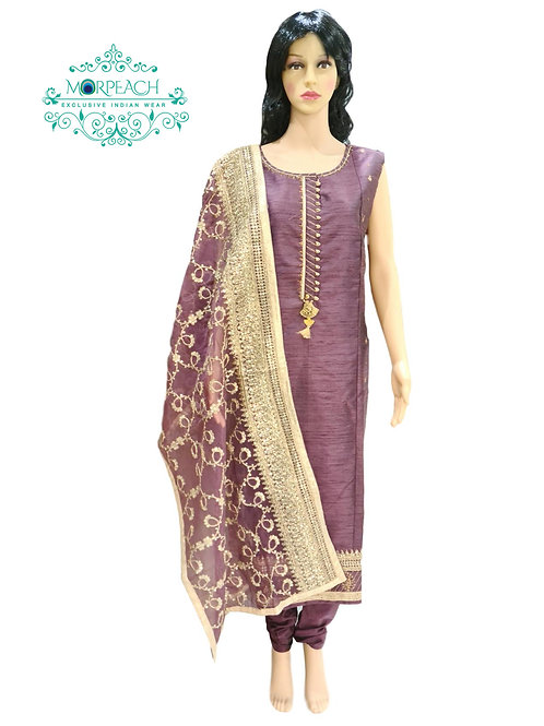 Purple Straight Cut Silk Dress