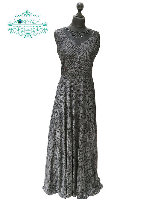 Grey Black Self Design Shimmer Gown