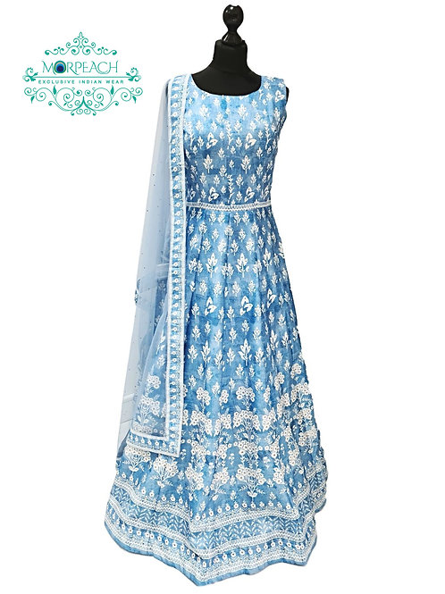 Light Blue And White Silk Gown
