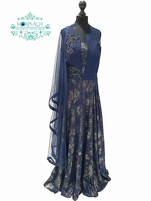 Navy Blue Evening Gown In Crushed Print