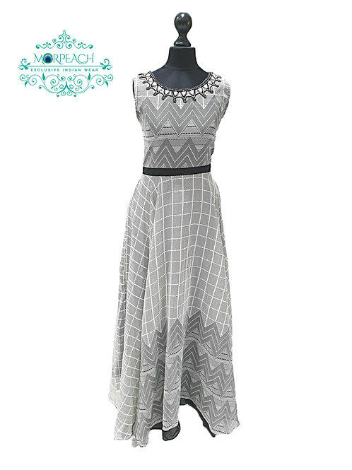 Black And White Printed Kurti (4XL)