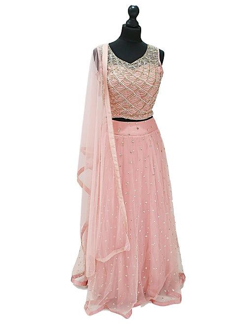 Pink Net Lehenga (XL)