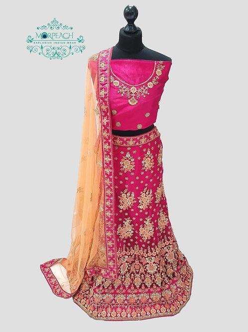 Pink Semi Stitched net Lehenga (4XL)