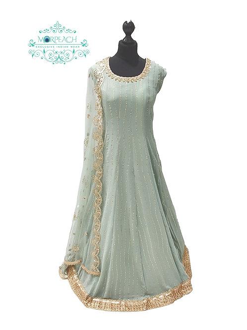 Pastel Green Chiffon Dress (4XL)