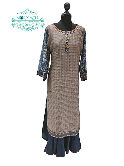 Grey Layered Silk Kurti