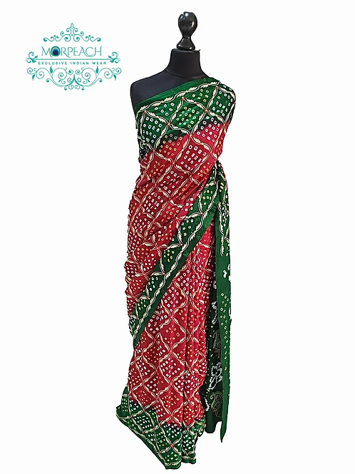 Red and Green Bandhni Saree