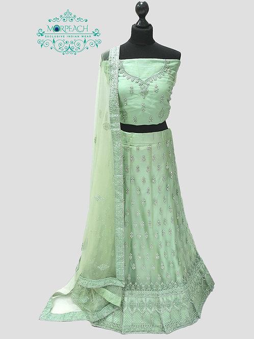 Pastel Green Semi Stitched Net Lehenga (4XL)