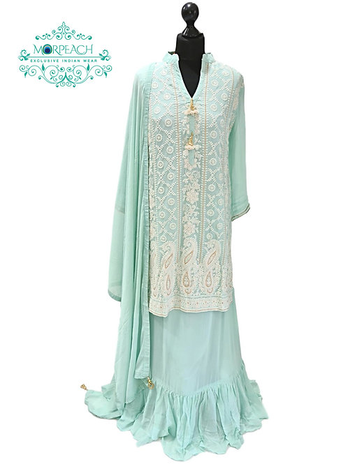 Baby Blue Lucknowi Long Top Lehenga