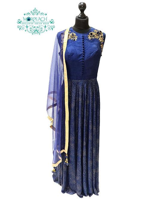 Blue Self Embossed Chiffon Dress (XL)