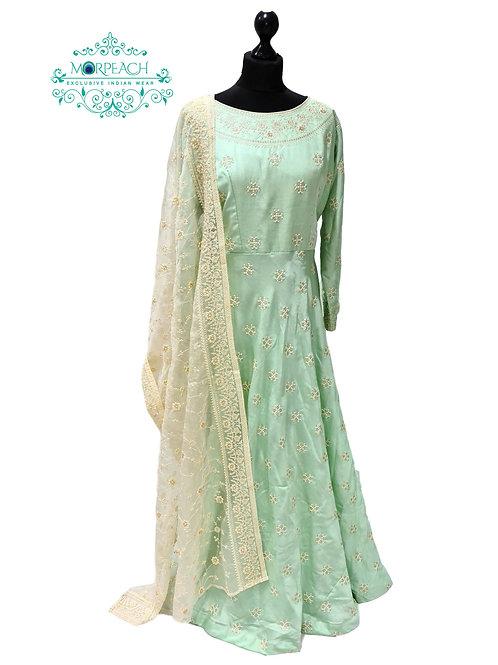 Light Green Threadwork Silk Dress (3XL)
