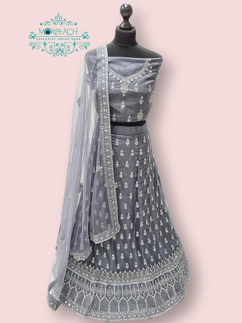 Grey Semi Stitched Net Lehenga (4XL)