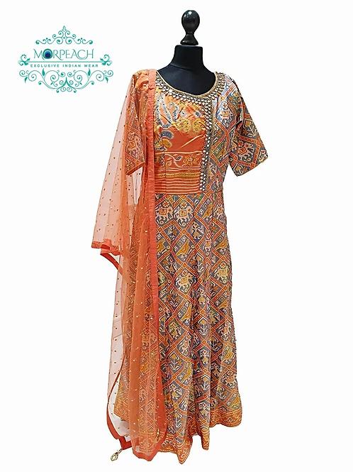 Patola Designed Silk Dress With Plazzo (R)