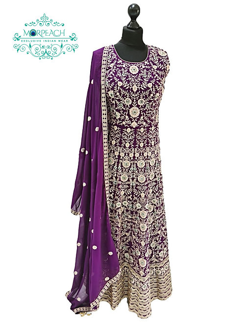 Purple Chiffon Heavy Embroidered Gown