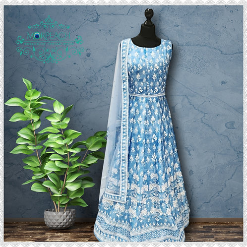 Light Blue And White Silk Gown (R)