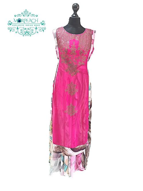 Bright Pink Chiffon Swaroski Kurti