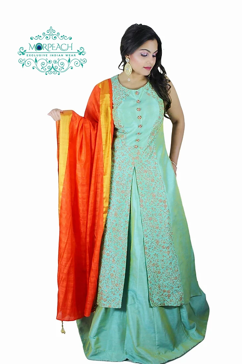 Green and Orange Lehenga Dress