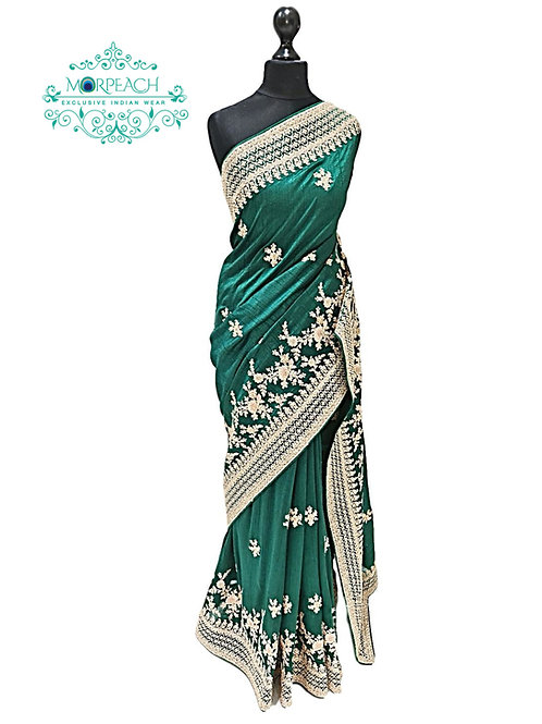 Bottle Green Saree With Touch Of Pink