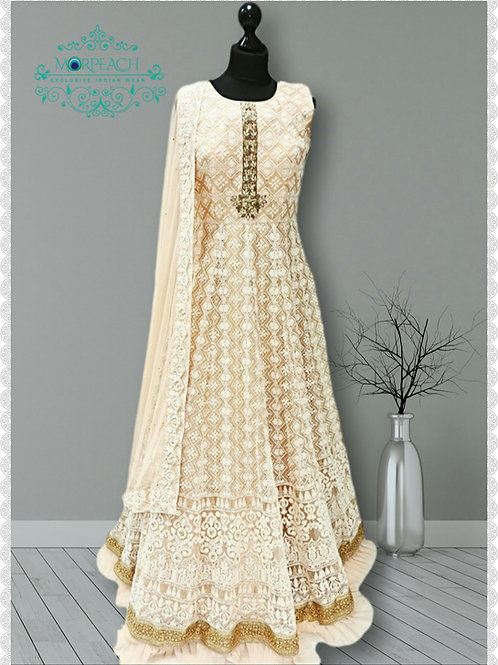 Pastel Peach Heavy Lucknowi Gown (R)