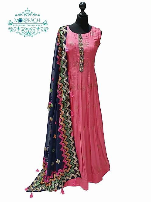 Pink Swaroski Studded Gown With Heavy Dupatta