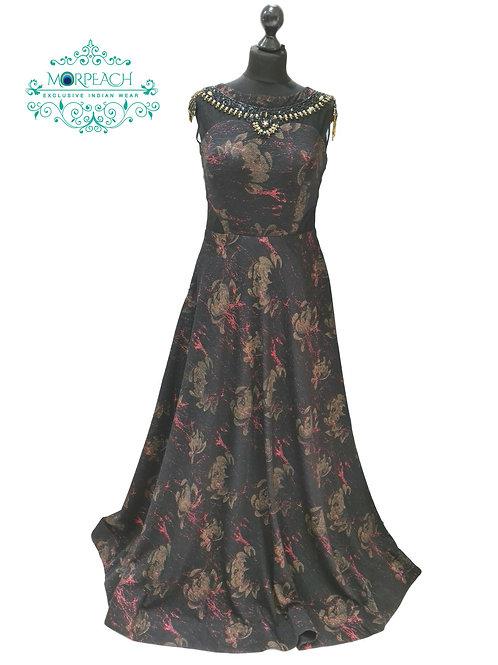 Black Maroon Partywear Gown