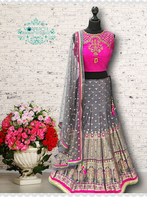 Grey And Pink Banarasi Lehenga (Reg)