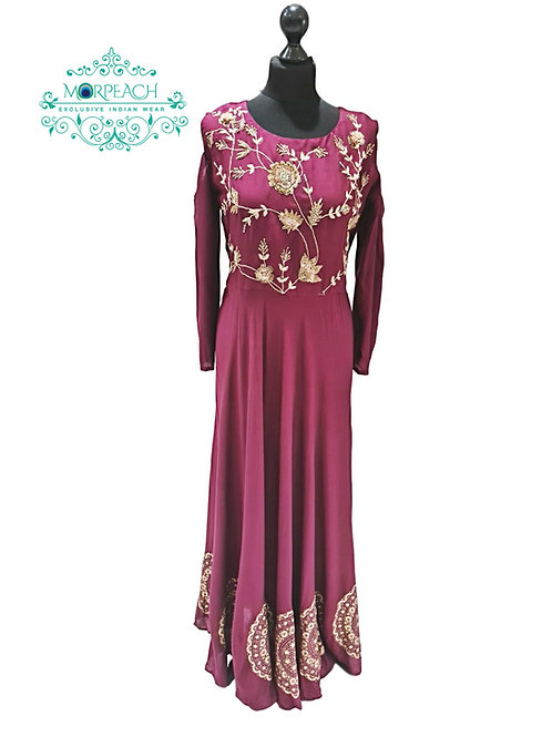 Maroon Cold Shoulder Kurti