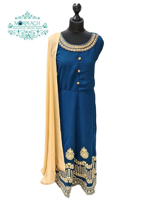 Blue Green Daman Work Dress (3XL)