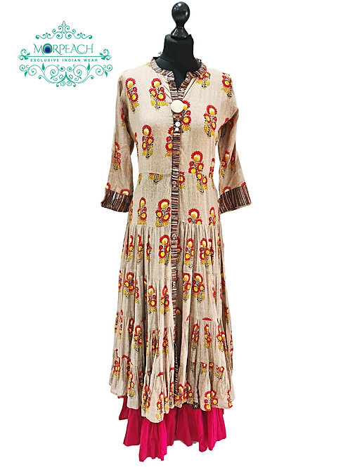 Beige Red Layered Kurti