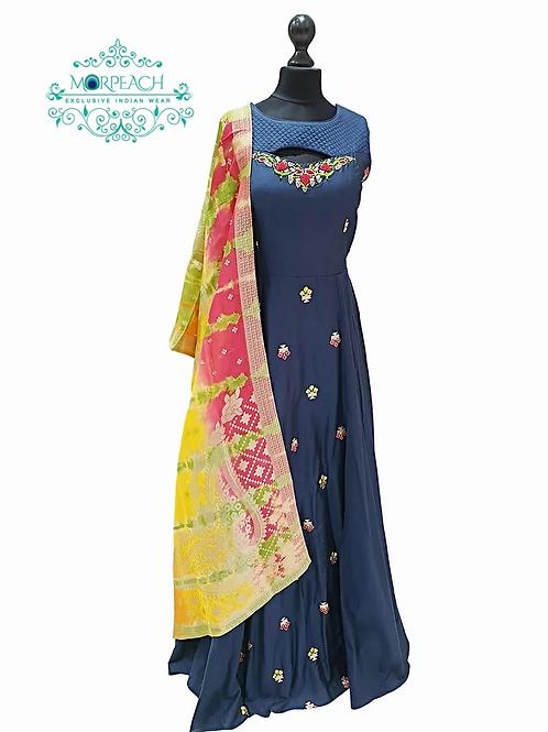 Navy Blue Dress with Multicolor Banarasi Dupatta (R)