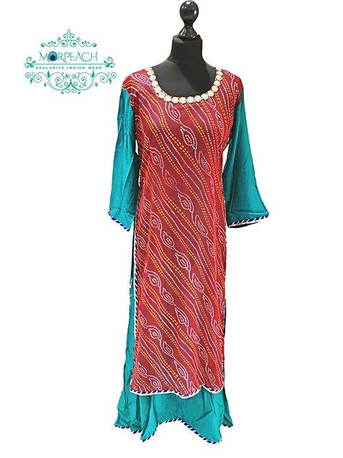 Bandhej Print Red And Green Kurti (XL)