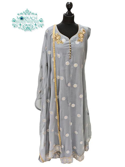 Grey Threadwork Chiffon Dress (4XL)