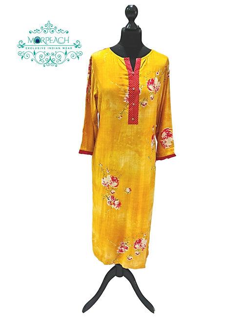 Yellow Soft Rayon Kurti