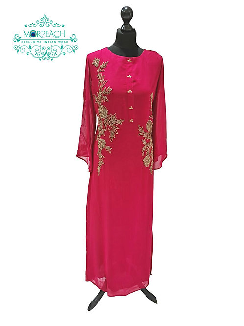 Maroon And Gold Georgette Kurti