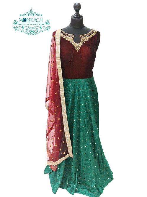 Green Maroon Silk Dress (XL)
