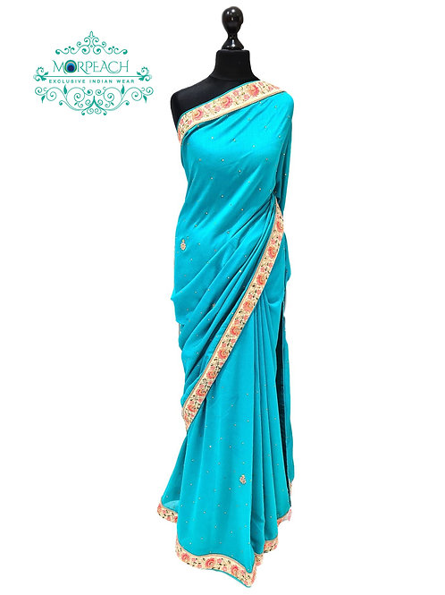 Light Blue Bordered Saree