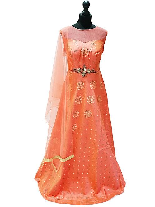 Peach And Gold Silk Gown (XL)