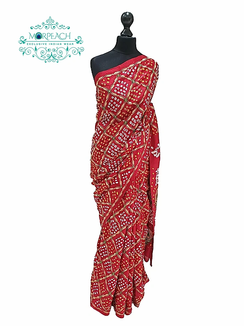 Red Bandhni Saree