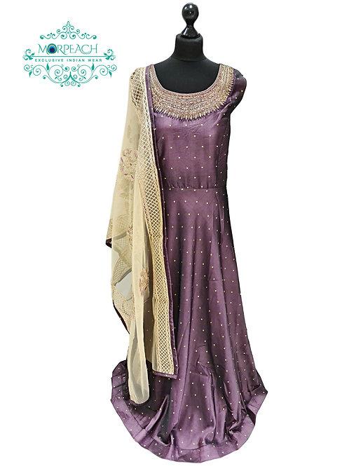Purple Heavy Dupatta Silk Dress