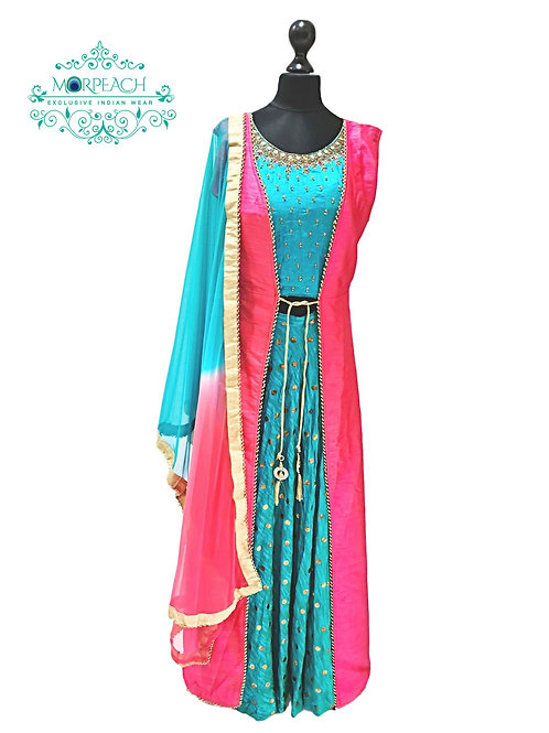 Pink And Blue Attached Jacket Dress