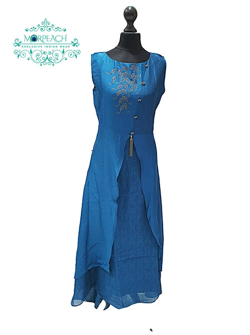 Blueish Green Swaroski Kurti (XL)