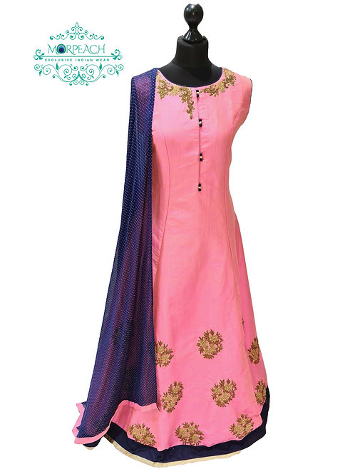 Pink And Blue A-Line Dress (2XL)